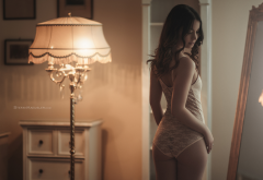 lamp, closed eyes, ass, brunette, back, lingerie, see through, sexy wallpaper