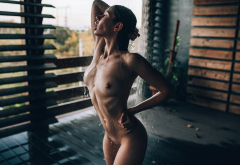 nude, tanned, shower, open mouth, closed eyes, water, ribs, wet body, wet hair, water drops, tits, hard nipples wallpaper