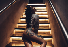 closed eyes, ass, tanned, stairs, tattoo, sexy wallpaper