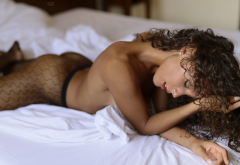 tanned, ass, closed eyes, nude, fishnet stockings, in bed wallpaper