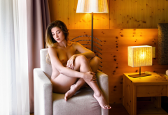 brunette, sitting, nude, tits, boobs, lamp, legs wallpaper