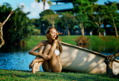 boat, closed eyes, white bikini, tanned, sitting, grass, trees, legs wallpaper