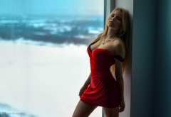 blonde, red dress, closed eyes, portrait, window, sexy wallpaper