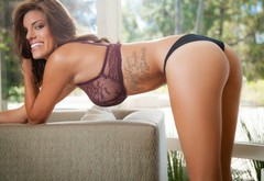 ass, girl, tattoo, smile, playboy, amber alexandria wallpaper