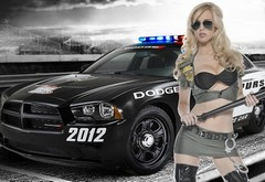 blonde, girl, mashina, shape, uniforma, handcuffs, car, kop, policeyskiy, dodge wallpaper