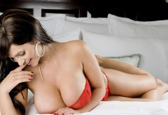 brunette, girl, laying, big tits, bed, Denise Milani wallpaper