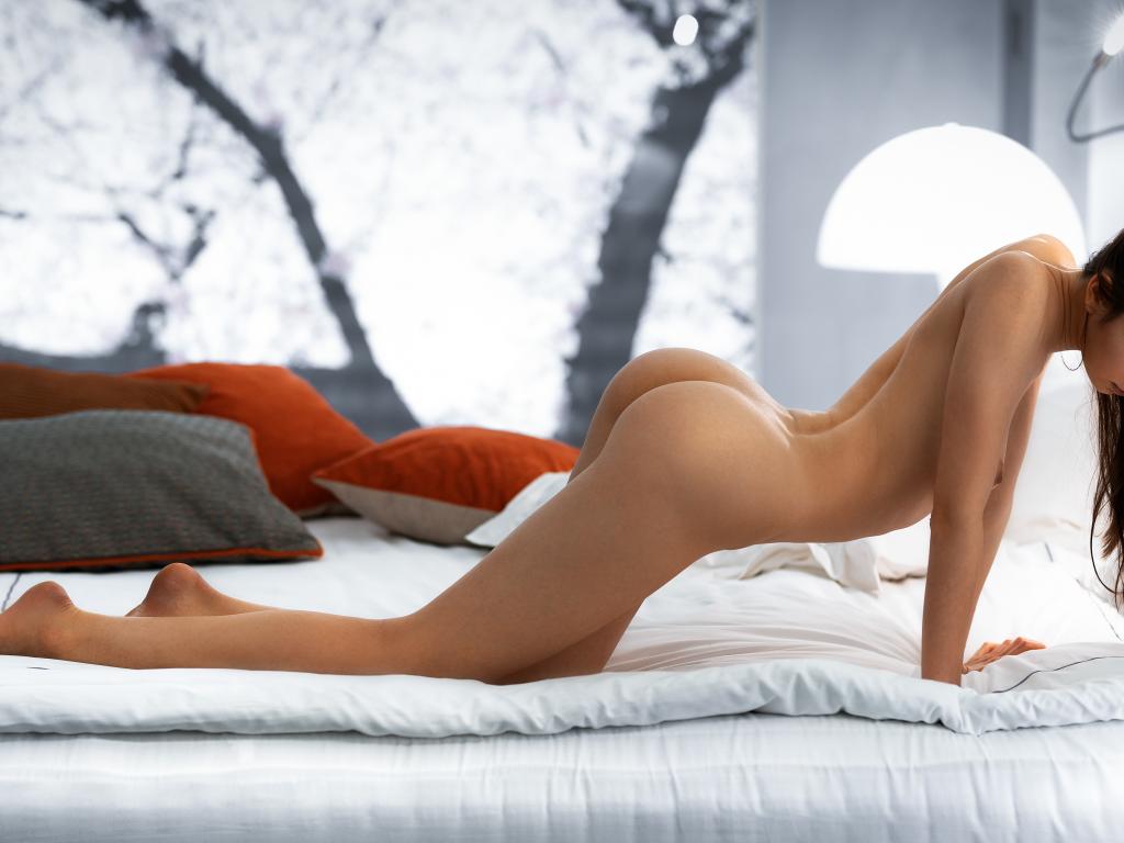 Women Kneeling Ass Wall In Bed Tanned Blonde Teamskeet 1
