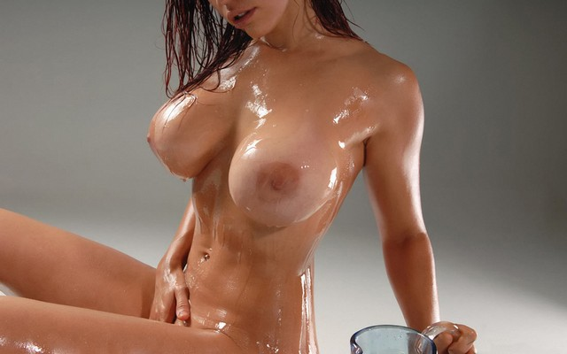 Photo Boobs, Nude, Oiled, Bianca Beauchamp, Models, Women, Simple Background, Busty, Oily -1639