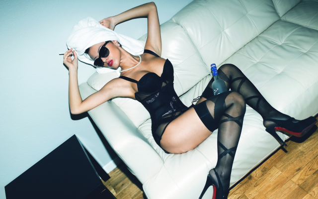 2700x1800 pix. Wallpaper stockings, lingerie, women with glasses, smoking, couch, high heels, corset