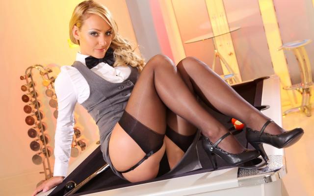 Blonde secretaries in thigh high pantyhose