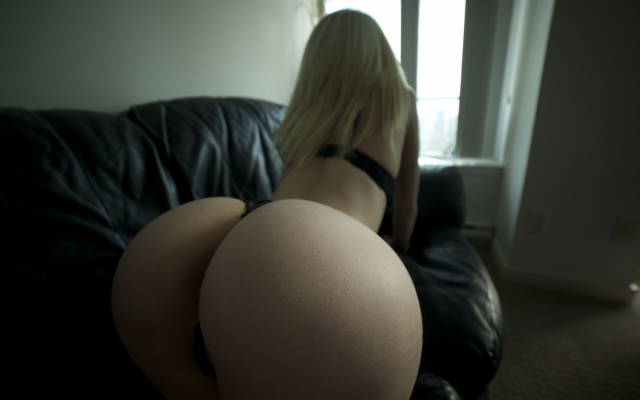 Visible, not big butt thong bending over with