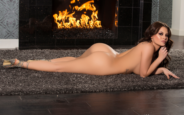 2739x1826 pix. Wallpaper shelly lee, playboy, ass, tanned, naked, fireplace, brunette