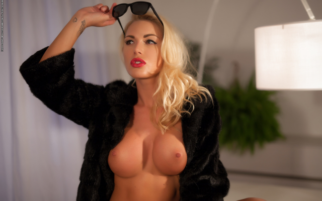 Blonde with fake boobs #7