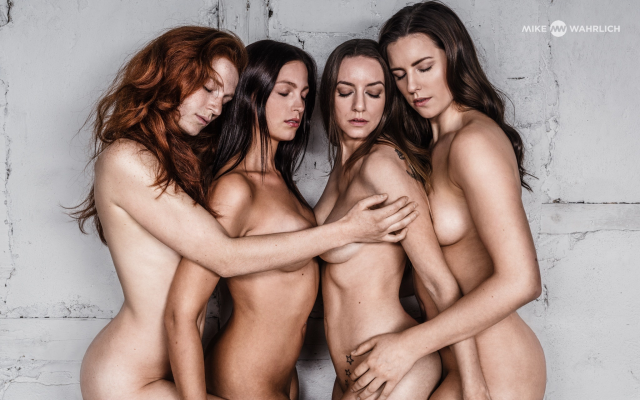 2048x1280 pix. Wallpaper group, brunette, nude, tits, closed eyes, redhead, four