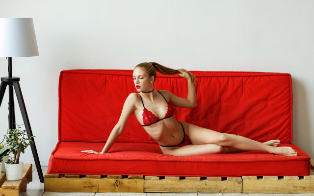 1920x1280 pix. Wallpaper fia meos, couch, red panties, red lingerie, red bra, red lipstick, ribs, skinny