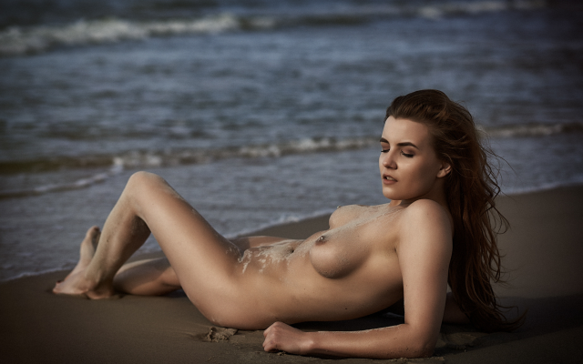 2048x1367 pix. Wallpaper beach, sea, naked, tits, tanned, hot, boobs