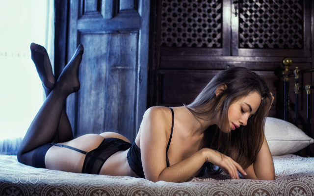 2048x1393 pix. Wallpaper lidia savoderova, brunette, ass, black lingerie, closed eyes, in bed, sexy, stockings