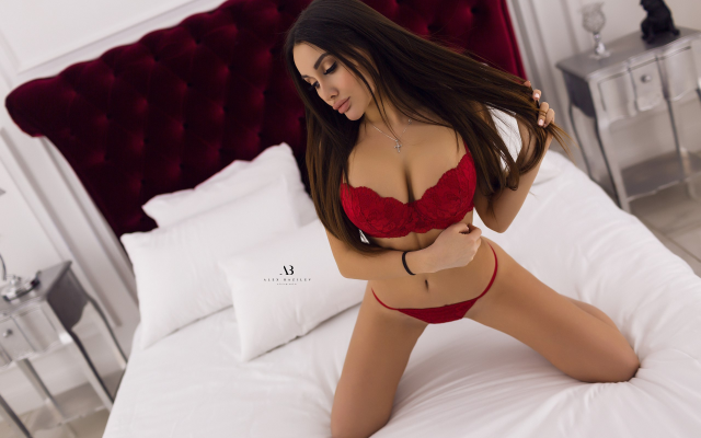 2560x1707 pix. Wallpaper red lingerie, in bed, kneeling, necklace, pillow, brunette, tanned, busty, red bra