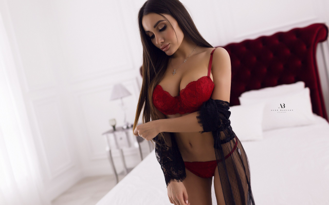 2560x1707 pix. Wallpaper red lingerie, in bed, pillow, red bra, red panties, sexy, hot, brunette