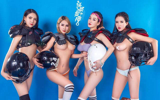 5005x3337 pix. Wallpaper chinese models, football player, lingerie football league, group, socks, model, underwear, boobs, tits, panties
