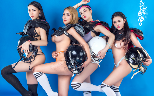 4702x3135 pix. Wallpaper chinese models, football player, lingerie football league, group, socks, model, underwear, boobs, tits, panties