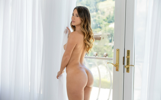2449x1632 pix. Wallpaper eva lovia, tits, brunette, tanned, naked, ass, back