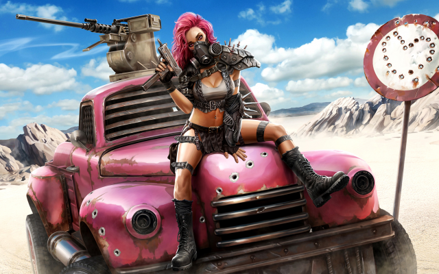 1920x1166 pix. Wallpaper artwork, pink hair, jeep, apocalyptic, desert, sexy