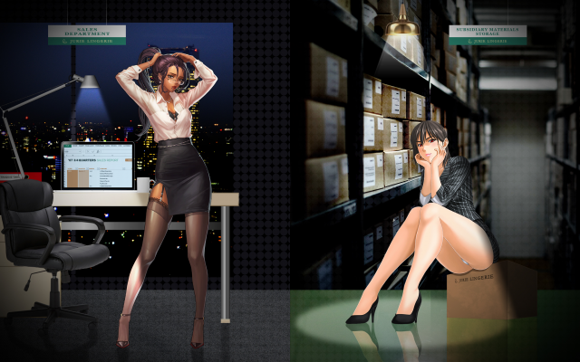 2560x1440 pix. Wallpaper office, office girl, garter belt, stockings, collage, anime, legs, skirt, sexy