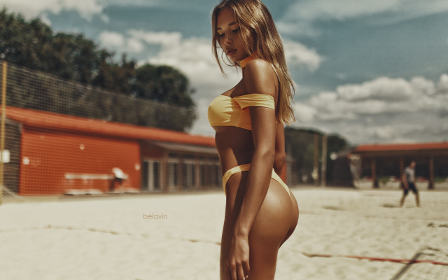 2560x1707 pix. Wallpaper tanned, sand, yellow bikini, ass, outdoors, sexy ass, beach