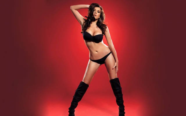 1920x1080 pix. Wallpaper imogen thomas, model, brunette, boots, panties, bra, black lingerie, lingerie