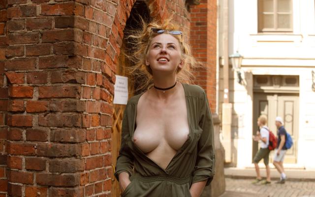 Flashing tits in public