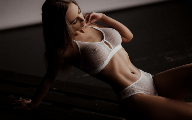 1920x1280 pix. Wallpaper white lingerie, belly, tattoo, armpits, hips, see-through, bra, boobs, nipples, big tits, white panties, white bra