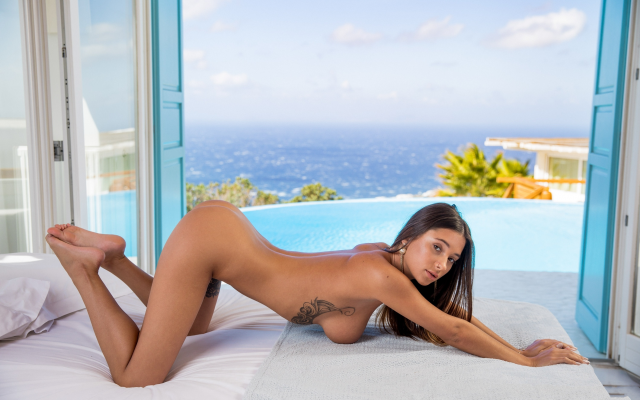 3000x2000 pix. Wallpaper liya silver, sea, pool, naked, tanned, boobs, big tits, tattoo, brunette, hot, ass, doggy
