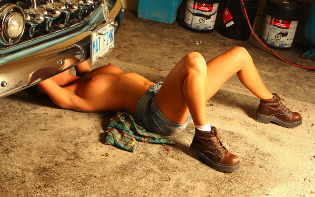 2592x1648 pix. Wallpaper mechanic, boots, boobs, tits, tanned, nipples, topless, garage, car