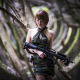 weapon, soldier, asian, model, brunette, forest, machine gun wallpaper