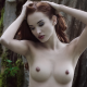 tits, redhead, closed eyes, arms up, boobs, hard nipples, forest, outdoors wallpaper