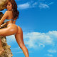 jesikah maximus, brunette, ass, high heels, thong, oiled wallpaper