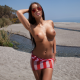 mareeva, big tits, boobs, tanned, sunglasses, beach, sea, topless wallpaper