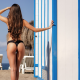 black bikini, ass, the gap, brunette, long hair, beach wallpaper