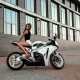 natasha ivanovna komar, jeans shorts, motorcycle, high heels, red heel, bike, sexy legs, brunette wallpaper