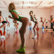 group of women, ass, one-piece, leotard, sneakers, sports, exercise, wooden surface, fitness, sport, sexy legs wallpaper