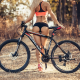 ass, blonde, sneakers, bicycle, sportswear, tanned, back, outdoors wallpaper
