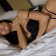 closed eyes, in bed, black hair, black lingerie, big tits, sexy belly wallpaper
