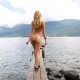 olivia preston, ass, back, lake, naked, pier, blonde wallpaper