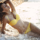 brunette, closed eyes, wet body, yellow bikini, outdoors, model, water, bikini, beach, sea wallpaper