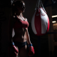 punching bag, sportswear, belly, boxing gloves, tanned, gym wallpaper