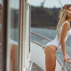 blonde, ass, tanlines, one-piece swimsuit, tanned, closed eyes, boat, ship, sexy wallpaper