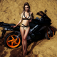 motorcycle, tanned, outdoors, belly, bikinim bike, beach, sand, legs wallpaper
