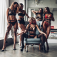 tanned, group of women, black lingerie, high heels, smiling, see-through, fetish, five, stockings, sexy, panties, bra wallpaper
