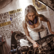 blonde, car, work, depth of field, boobs, nusty, oiled, dirty, mechanic wallpaper